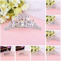 Women Wedding Bridal Prom Tiara Crown Pearl Crystal Diamante Hair Comb Headband