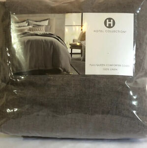 Hotel Collection FULL/QUEEN Duvet Cover 100% LINEN GRAY $335