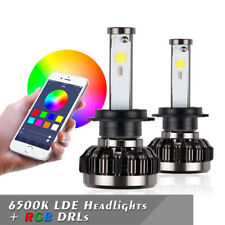2PCS HB3 72W 8000LM RGB LED Lampadine del Faro Kit Bulbi Auto Luci APP Bluetooth