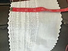 Vintage Sewing Bright White Cotton Fabric 15�L by 8 yards floral embroiled Trim