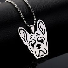 Stainless Steel French Bulldog Bull Pet Dog Frenchie Head Charm Pendant Necklace