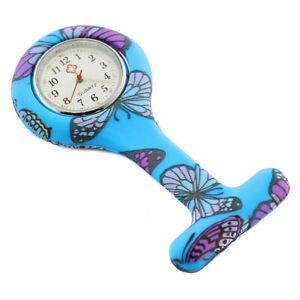 Nurse Watch Patterned Silicone Floral Brooch Tunic Fob Quartz Watch w/ BATTERY