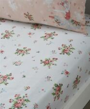 FLORAL BUNCHES PINK GREEN WHITE SINGLE 90X190+25CM COTTON BLEND FITTED SHEET