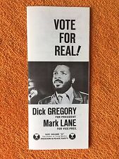 RARE-DICK GREGORY 1968 PRESIDENTIAL CAMPAIGN-3 Panel Pamphlet-Original!