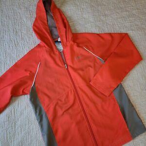 Reebok Womens Zip Up Windbreaker Coral Pink Orange Mesh Lining Size Medium M