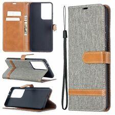 Samsung Galaxy S21 Ultra Handyhülle Schutztasche Case Cover Kartenfach Grau Neu
