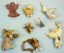 Lot of 9 ANGELS Brooch Pin Tack Pendant Necklace Rhinestone Enamel Porcelain