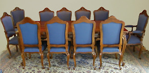 Antique Louis XV Dining Suite 1950s (12 chairs inclusive 2 captain)