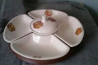 Vintage 7Pc Fruit/Vegetable Lazy Susan Tray With Dipping Cup! By TREASURE CRAFT