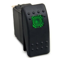 12V 24V Green LED Light Bulb Rocker Switch On Off Waterproof 3 Pins Car