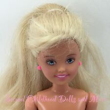 "Cute STACIE Nude Barbie Little Sister 7.5"" Blonde w Bangs Girl Doll KWA15"