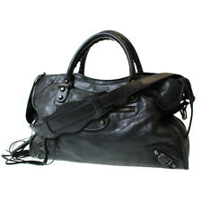 BALENCIAGA The City Shoulder Hand Bag Black Leather Vintage Authentic #8861 W