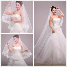 3M Length White Bridal Veil Lace Edge Bride Elegant Vintage Cathedral Wedding US