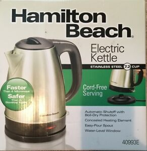 Hamilton Beach Stainless Steel Electric Cordless Kettle 7.2 Cup 1500W Silver NEW