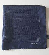 RALPH LAUREN BLACK LABEL NAVY WHITE POLKA DOTS POCKET SQUARE 100% SILK ITALY