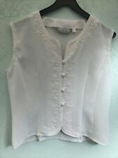 VINTAGE LADIES SLEEVELESS TOP SIZE 12 FROM NEXT CREAM FLORAL DESIGN WITH DETAIL