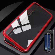 Pour Huawei Mat 20 Lite AIMANT / Métal Verre Rouge/Transparent