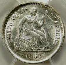 PCGS MS62 1868 S SEATED HALF DIME
