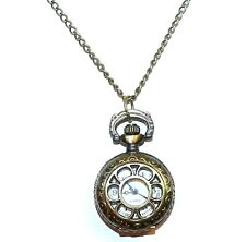 "FN168 Antiqued Bronze Small 22mm Flower Lid Pocket Watch 32"" Fashion Necklace"