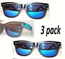 3 Pair Foster Grant Blue Ice Mirror Black Classic Sunglasses 100% UV  w Cases