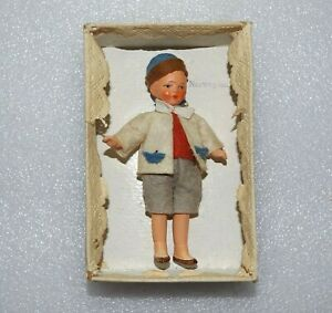 """VINTAGE BISQUE NORWEGIAN BOY Original Clothes & Box 3 3/4"""" JOINTED GERMANY DOLL"""