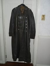 Original German WWII leather greatcoat, marked Tschache + Co. Dresden, size 42
