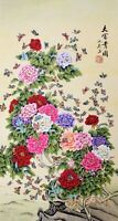 100% ORIGINAL ASIAN FINE ART CHINESE WATERCOLOR PAINTING-Peony flower&Butterfly