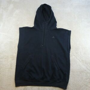 Adidas Sweater Adult Medium Black Spell Out Logo Sleeveless Athletic Zip Mens