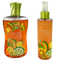 2 Bath & Body Works Peach Citrus Items Fragrance Mist 8 oz & Shower Gel 10 oz