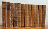 12 Antique books, leather bound, gilded, mainly French, 1830's,