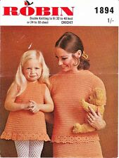 VINTAGE CROCHET PATTERN JUMPER SUIT W MATCHING GIRL'S DRESS BOTH W FLOWER TRIM