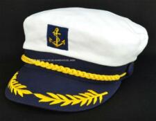 1 Sailor Boating Nautica Captain Fancy Dress Party Costume Cap Hat Navy n' White