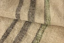 Vintage GRAIN SACK charcoal black grey brown + GREEN ~ RARE twill weave bag