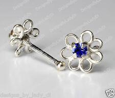 Silver Dainty Flower Blue Gem One (1) Nose Stud Studs Rings