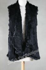 NEW 100% RABBIT FUR DRAPE FRONT LONG VEST BLACK Free Size