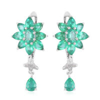 925 Sterling Silver Rhodium Over AAA Emerald Drop Dangle Earrings Gift Ct 3.38