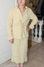 luxueux ensemble été robe + veste en lin sable LILITH taille S QUASI NEUF