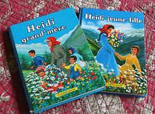 1958 Enfantina Heidi jeune fille et Heidi Grand'mère 2 livres enfants vintage