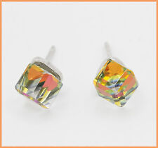 Multicolor Kristall Ohrstecker gelb orange grün aus 925 Sterlingsilber + Beutel