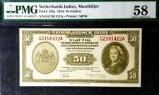 PMG 58 UNC 1943 NETHERLANDS INDIES 50 Gulden B/note S/N-GZ181412A(+1 note)#17134