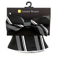 Men's Bow Tie & Pocket Square Handkerchief Laurant Bennet Black White Hanky Set