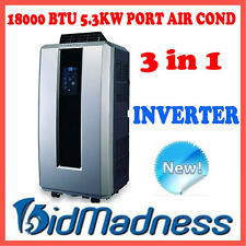NEW 5.3kW 18000 BTU PORTABLE INVERTER 3 in 1 AIR CONDITIONER DEHUMIDIFIER FAN