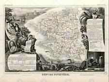 MAP OLD FRANCE LEVASSEUR FINISTERE DEPARTMENT POSTER ART PRINT BB12031B