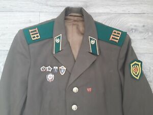 Military uniform Soviet border guard. Jacket with Badge . USSR Army