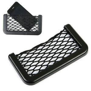 1x Car Interior Body Edge ABS Elastic Net Storage Phone Holder Black Accessories