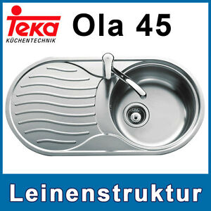 Edelstahlspüle Teka Ola 45 Edelstahl Spüle Leinen Designspüle Spülbecken Ausguß