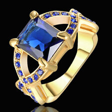Size 7 Vintage Blue Sapphire Wedding Ring Women's 10KT Gold Rhodium Jewelry