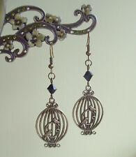 Steampunk Vintage Bronze Love Birds Birdcage Black Bead Dangly Retro Earrings