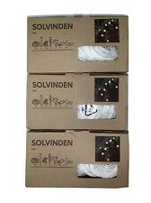(3) Ikea Solvinden Outdoor String Lights (8 Globes Per 11' Strand) Solar Power