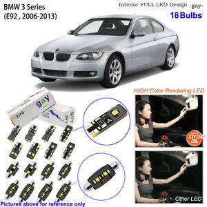 18 Bulbs LED Interior Dome Light Kit Xenon White For BMW 3 Series E92 Coupe